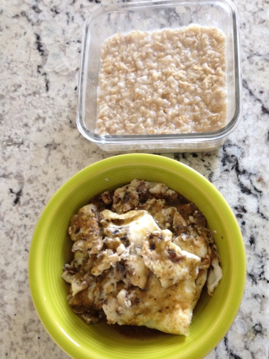 Kirkland Egg Whites, mushrooms, quaker oats