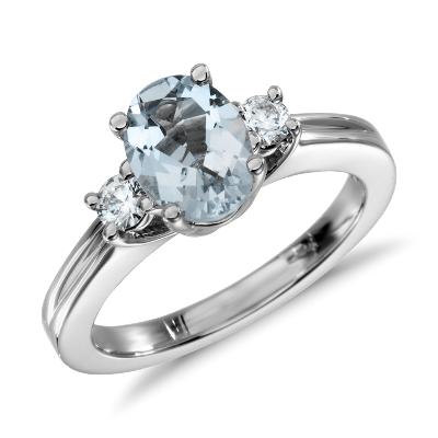 aquamarine diamond ring aquamarine wedding rings Aquamarine and Diamond Ring in 18k White Gold mm