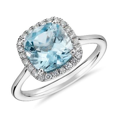 morganite diamond cushion ring 14k rose gold blue wedding rings Morganite and Diamond Halo Cushion Ring in 14k Rose Gold mm