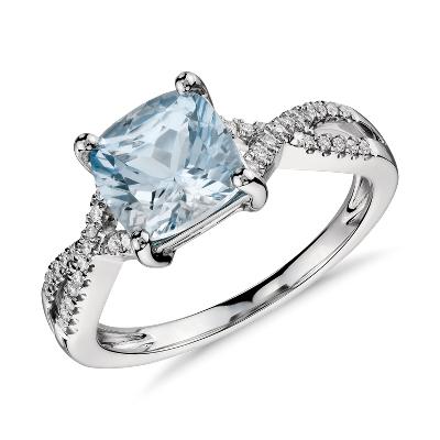 aquamarine diamond ring 14k white gold aquamarine wedding rings Aquamarine and Diamond Infinity Twist Ring in 14k White Gold mm