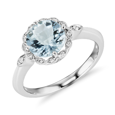 march aquamarine aquamarine wedding rings Aquamarine and Diamond Milgrain Halo Ring in 14k White Gold 8mm