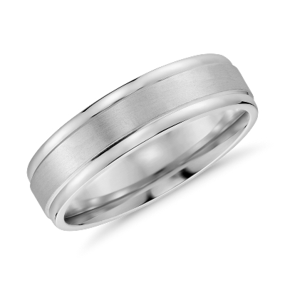 brushed inlay wedding ring 14k white rose gold silver mens wedding bands Brushed Inlay Wedding Ring in 14k White and Rose Gold 6mm