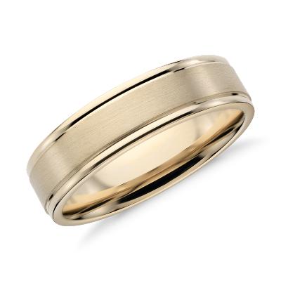 brushed inlay wedding ring 14k yellow gold 14k wedding band Brushed Inlay Wedding Ring in 14k Yellow Gold 6mm