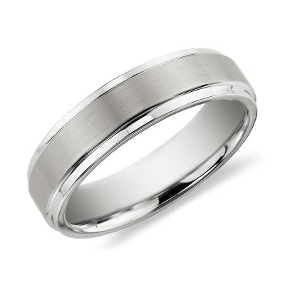 brushed polished comfort wedding ring black tungsten tungsten carbide wedding rings Brushed and Polished Comfort Fit Wedding Ring in Black Tungsten Carbide 6mm