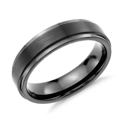 brushed polished comfort wedding ring black tungsten mens black wedding rings Brushed and Polished Comfort Fit Wedding Ring in Black Tungsten Carbide 6mm