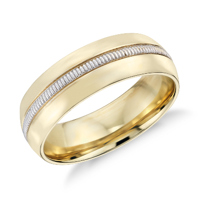 colin cowie mens milgrain wedding ring platinum 18k gold wedding rings men Colin Cowie Men s Milgrain Inlay Wedding Ring in 18k Yellow Gold and Platinum