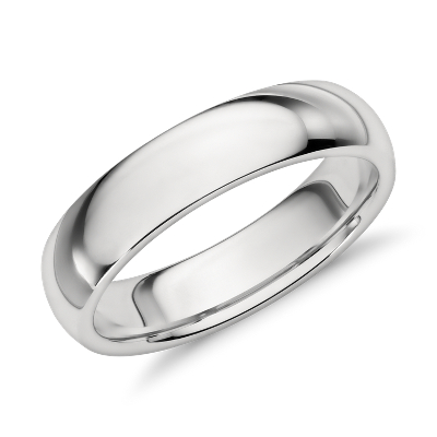 comfort fit platinum wedding ring silver mens wedding bands Comfort Fit Wedding Ring in Platinum 5mm