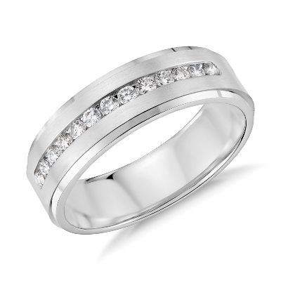 diamond channel set wedding ring platinum platinum diamond wedding bands Diamond Channel Set Wedding Ring in Platinum 1 3 ct tw