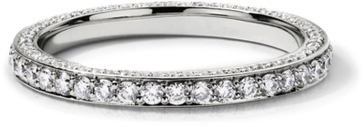 trio micropave eternity ring 14k white gold trio wedding rings Trio Micropav Diamond Eternity Ring in 14k White Gold 4 5 ct tw