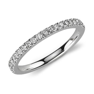 diamond ring white gold womens wedding band Petite Pav Diamond Ring in 14k White Gold 1 3 ct tw