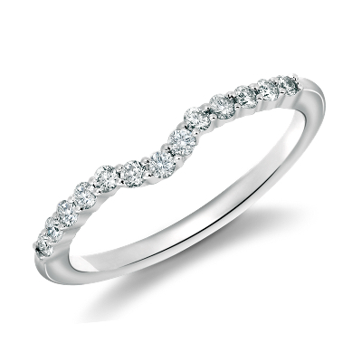 diamond wedding ring wedding ring band Classic Curved Diamond Wedding Ring in 18k White Gold 1 4 ct tw