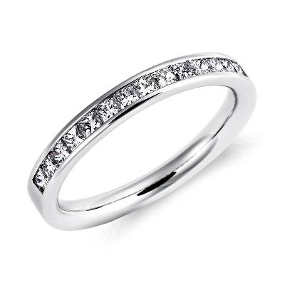 womens wedding rings contour diamond wedding band Channel Set Princess Cut Diamond Ring in Platinum 1 2 ct tw