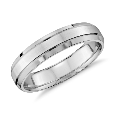 double inlay comfort fit wedding ring 14k white gold blue wedding rings Double Inlay Comfort Fit Wedding Ring in 14k White Gold 5mm