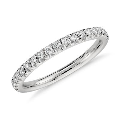 french pave diamond ring platinum platinum wedding band French Pav Diamond Ring in Platinum 1 4 ct tw