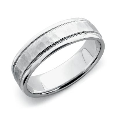 hammered milgrain comfort fit ring 14k white gold tungsten hammered wedding band Hammered Milgrain Comfort Fit Wedding Ring in 14k White Gold 6mm