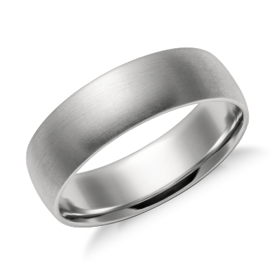high dome wedding ring platinum 6 mm wedding band rings Matte Mid weight Comfort Fit Wedding Band in Platinum 6mm