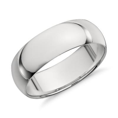 high dome wedding ring platinum 7 mm platinum wedding band Mid weight Comfort Fit Wedding Band in Platinum 7mm