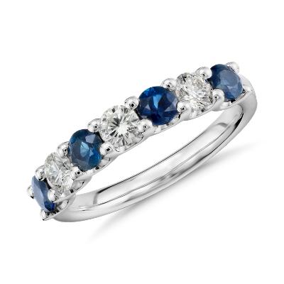 luna seven stone sapphire diamond ring platinum sapphire wedding band Luna Seven Stone Sapphire and Diamond Ring in Platinum