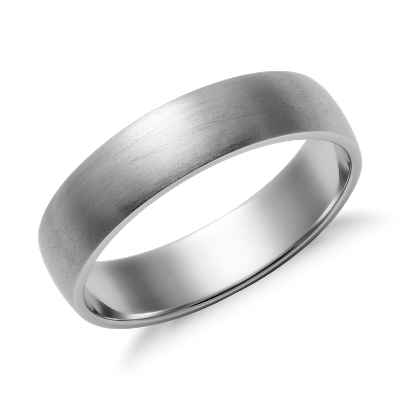 matte low dome wedding ring platinum 5 mm platinum wedding band Matte Classic Wedding Ring in Platinum 5mm