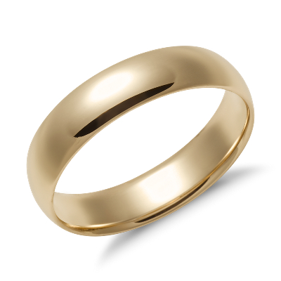 mens wedding rings wedding band rings Mid weight Comfort Fit Wedding Band in 14k Yellow Gold 5mm