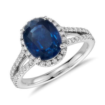 oval sapphire diamond split shank ring 18k white gold sapphire wedding rings Oval Sapphire and Diamond Split Shank Ring in 18k White Gold mm