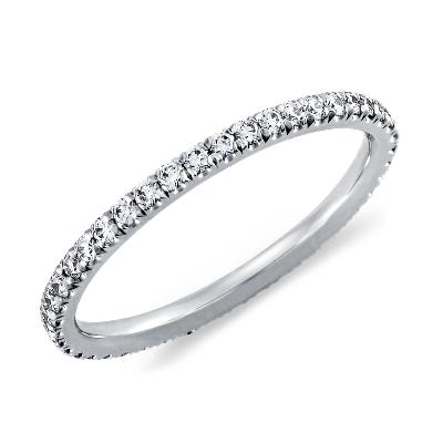 pave diamond eternity ring platinum micro pave wedding band French Pav Diamond Eternity Ring in Platinum 3 8 ct tw