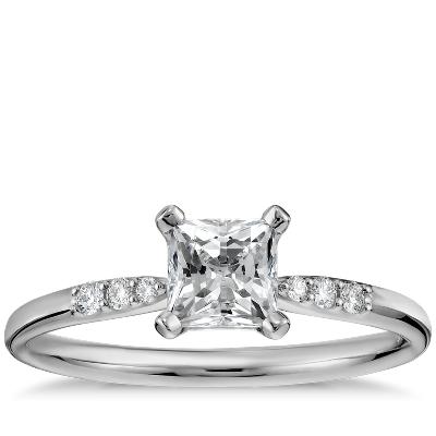 petite diamond engagement ring preset 14k white gold wedding ring princess cut 1 2 Carat Preset Princess Cut Petite Diamond Engagement Ring in 14k White Gold