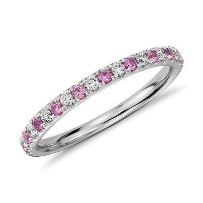 riviera diamond pink sapphire ring 14k white gold pink wedding rings Riviera Pav Pink Sapphire and Diamond Ring in 14k White Gold 1 5mm