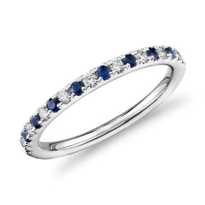 riviera sapphire diamond ring sapphire wedding rings Riviera Pav Sapphire and Diamond Ring in 14k White Gold 1 5mm