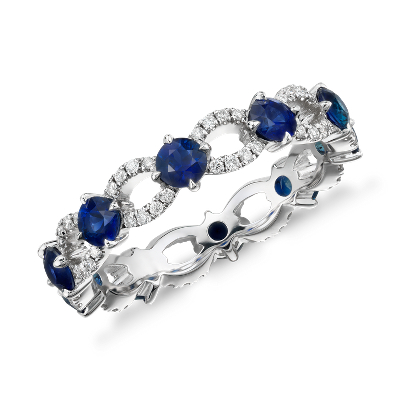sapphire diamond eternity ring 18k white gold sapphire wedding band Sapphire and Diamond Ellipse Eternity Ring in 18k White Gold