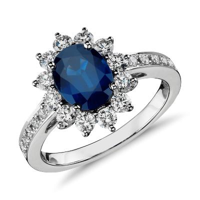 sapphire diamond ring white gold sapphire wedding rings Oval Sapphire and Diamond Ring in 18k White Gold mm