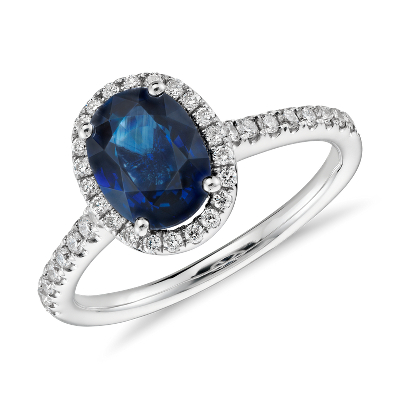 sapphire micropave diamond halo ring 14k white gold blue wedding rings Sapphire and Micropav Diamond Halo Ring in 14k White Gold mm