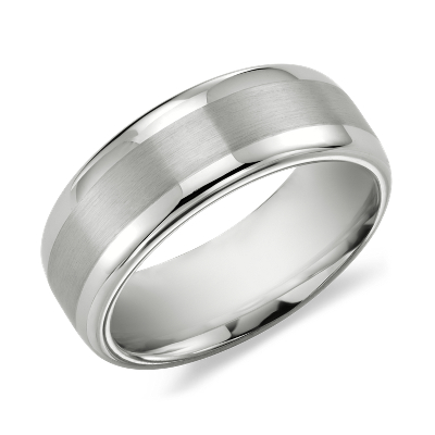 tungsten carbide wedding ring tungsten carbide wedding rings Brushed Inlay Comfort Fit Wedding Ring in White Tungsten Carbide 8mm