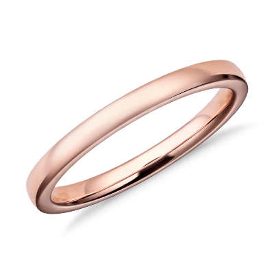 wedding ring rose gold rose gold wedding bands Low Dome Comfort Fit Wedding Ring in 14k Rose Gold 2mm