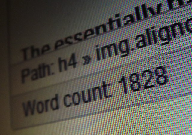Screenshot: the word count of our draft article.