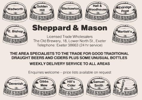 Vintage Sheppard & Mason beer agency advert.