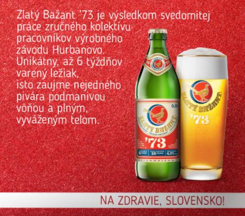 Zlaty Bazant 73 bottle.