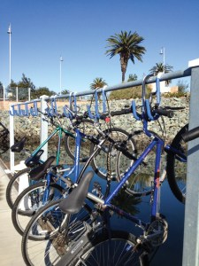 Creative bike racks at Pier 32 add a touch of modernity with minimal expense.