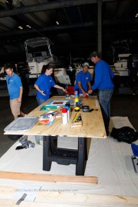 Lynnhaven Marine employees designing their training day boat together.