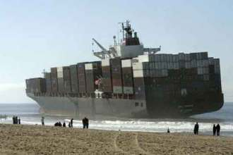 Cargo ship, shipping containers lost at sea, ocean freight