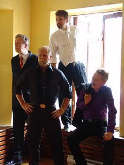 The cast of Hoodwinked: Todd Robbins, Richard Turner, Banachek, and Bob Arno