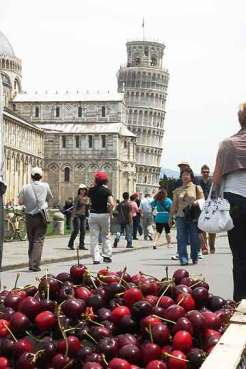 Leaning tower of Pisa and cherries for sale