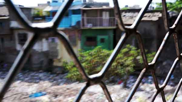 Dharavi slum, as seen from a speeding train.