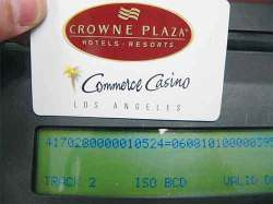 Hotel loyalty card and data showing on skimmer