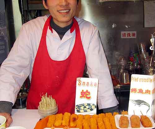 Beijing street food: Snake snack