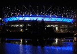 B.C. Place Stadium, prior to roof cable light problems.
