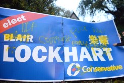 Conservative sign vandalized