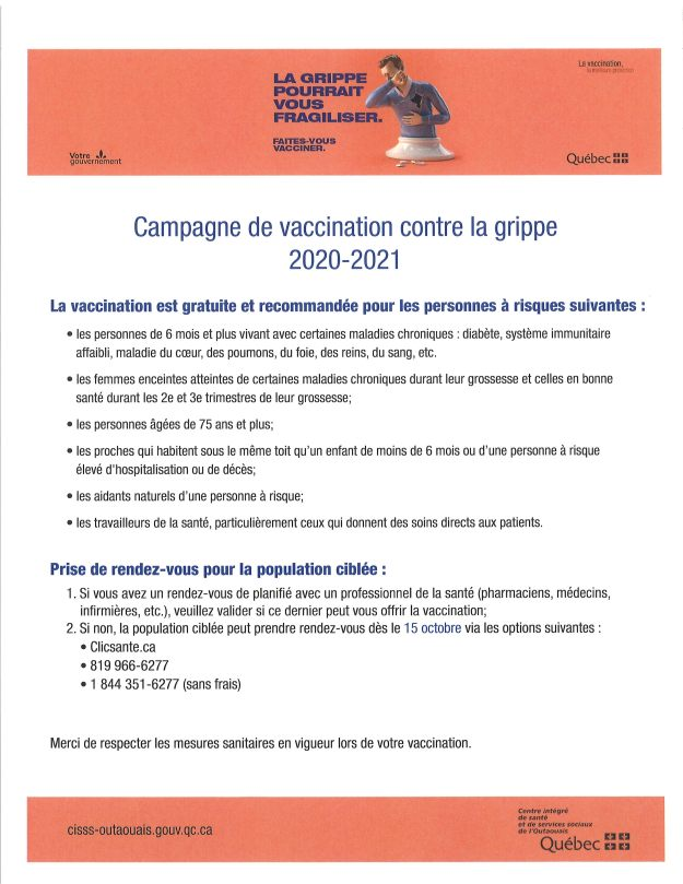 affiche vaccination grippe 2020-21