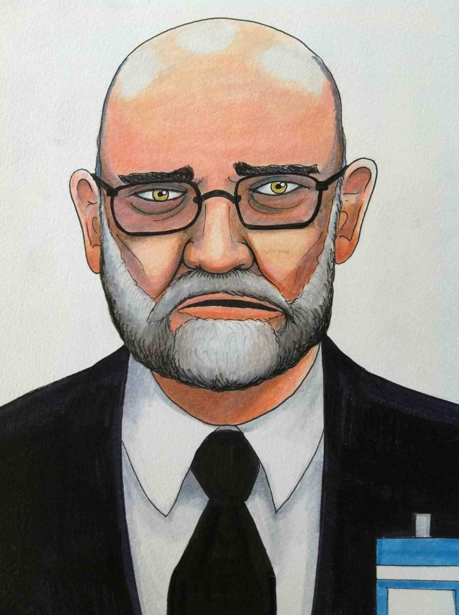 Yochai Benkler testifying on July 10 in the Bradley Manning court martial. Sketch by Clark Stoeckley (@wikileakstruck).