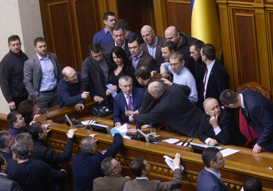 Arguments broke out in the Ukrainian Parliament on Friday. Maks Levin/Reuters